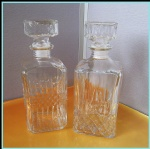 850ml crystal glass bottle square shaped Vintage Diamond Pattern