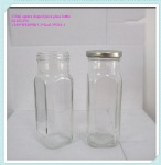Square Glass Juice Bottle 250ml