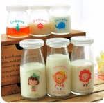 Glass Pudding Bottle with printing decor