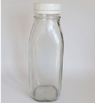 16oz French Square Glass Bottle With White Tamper-Evident Cap