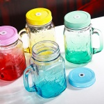 Glass Mason Jar Beverage Mugs